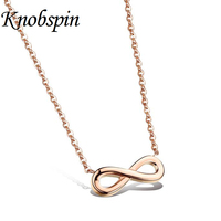 Rose Gold Plated Jewelry 316L Stainless Steel Infinity Love Necklace Promise Symbols Necklaces Pendants
