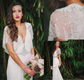 2017 Promotion Shining Sexy Bohemian V-neck Crystals&Beadings WhiteIvory Open Back Wedding Dress Beach Bridal Gown Custom Size