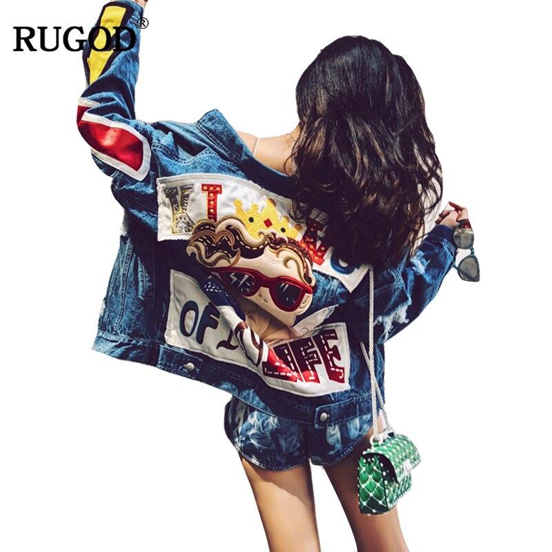 RUGOD 2018 Новая мода ручной работы мультфильм печати джинсовая куртка для женщин Винтаж рваные с длинным рукавом джинсовые куртки Casaco Feminino