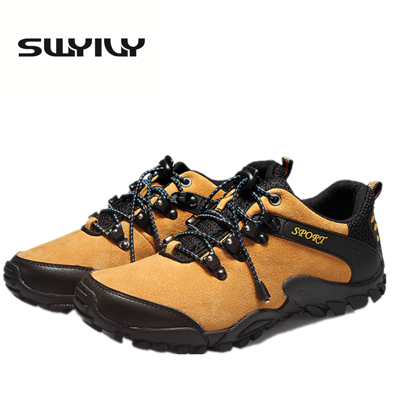 Outdoor Leather Men Hiking Shoes Breathable  Comfortable Sports Shoes  Non-Slip Climbing  Trakking Sneakers For Men High Quality