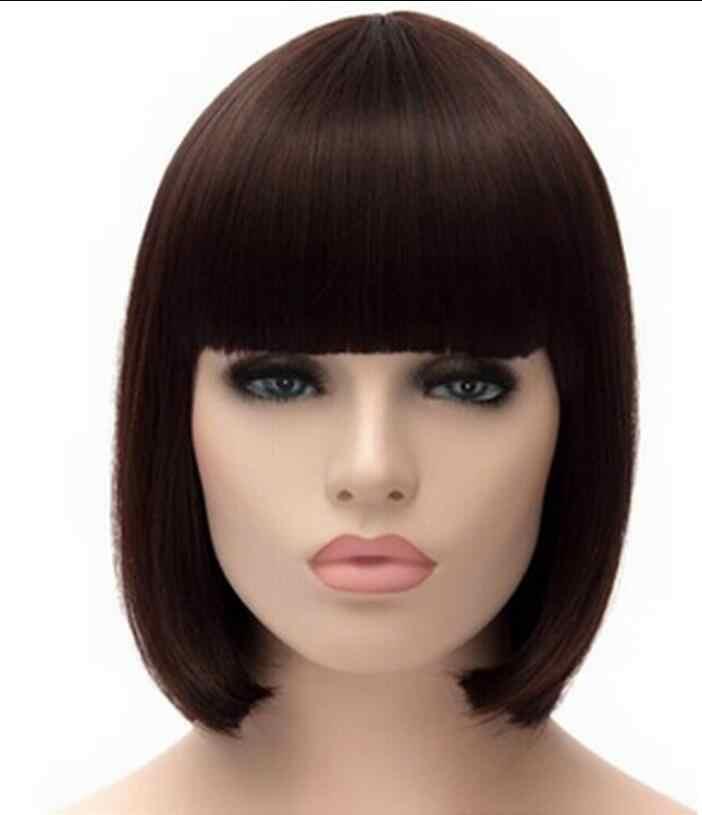 Peluca de moda estilo Bob corto recto pelucas marrones mujeres Cosplay fiesta peluca completa envío gratis