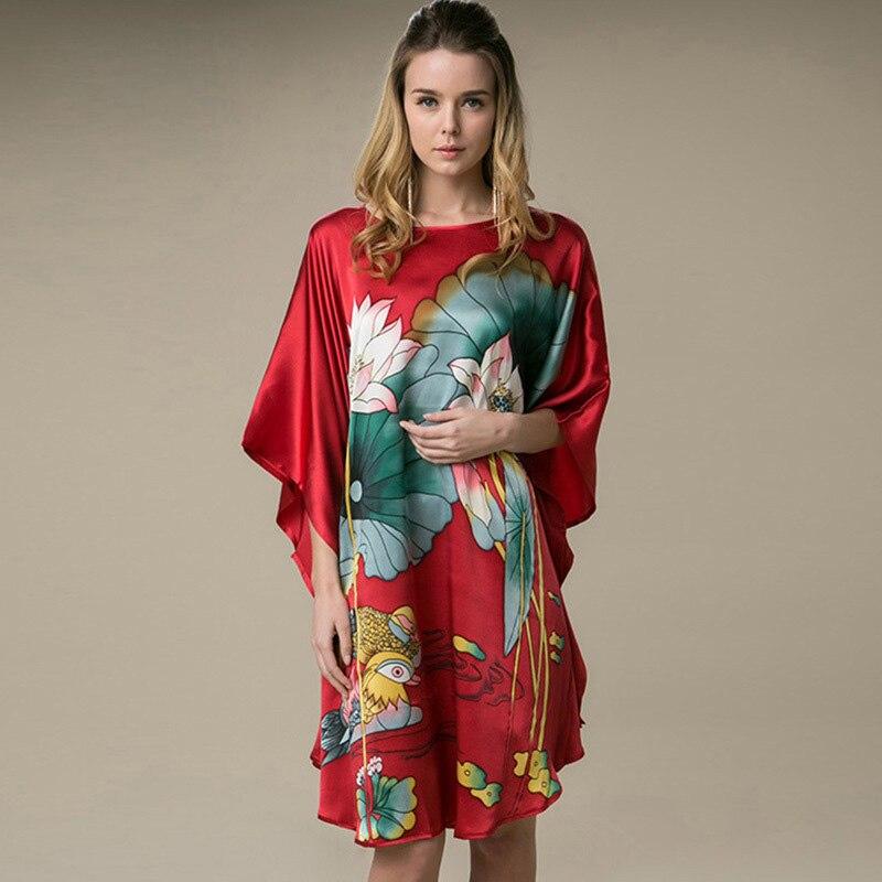 Hot Sale Summer Sleepshirts Women 39 s Nightgown 100 Mulberry Silk Robe Dress Kimono Gown Flower Sleepwear Plus Size YBP012 in Nightgowns amp Sleepshirts from Underwear amp Sleepwears