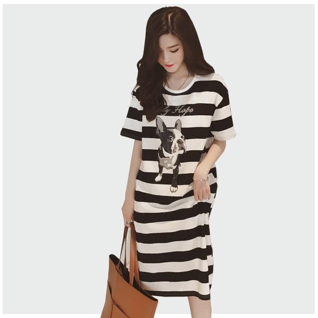 Cute Puppy Print Khaki Stripe Plus Size 3xl Loose 2018 Summer Dress