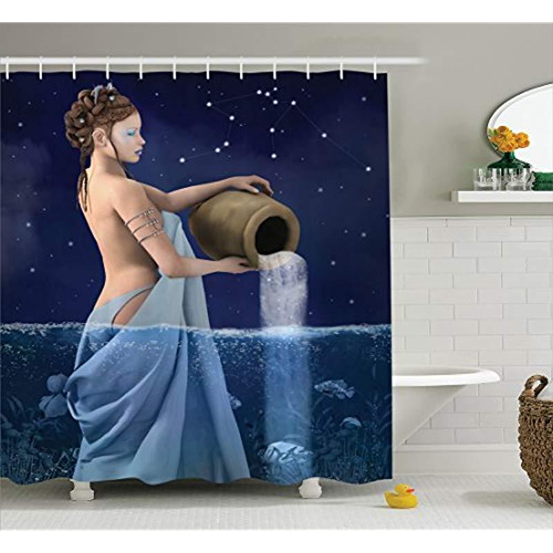 Vixm Астрология украшения душ Шторы Водолей леди с ведро в морской воде знаки Сатурн Mystry ночью звезды Шторы s