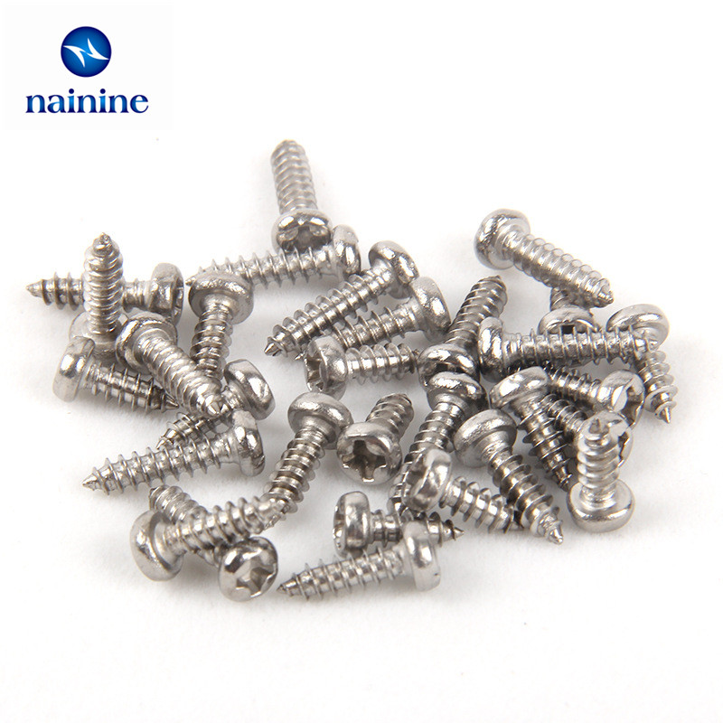 [M1 M1.2 M1.4 M1.7 <font><b>M2</b></font>] 100Pcs PA Screws Nickel-plated Pan Phillips Head Screws Self-<font><b>tapping</b></font> Electronic Small image