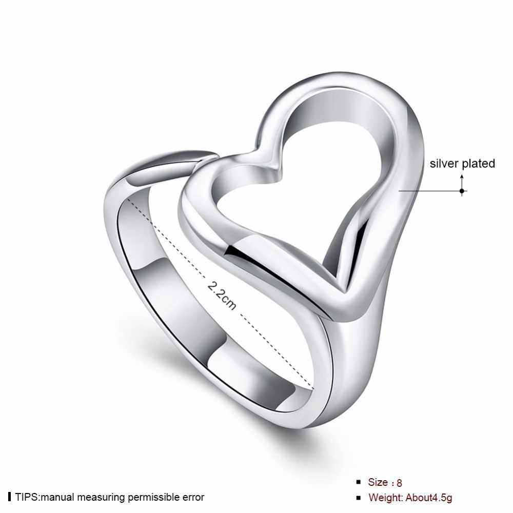 Посеребренные ювелирные изделия Женское кольцо Открытое сердце кольца для женщин регулируемые Простые Кольца для девочек свадебные подарки