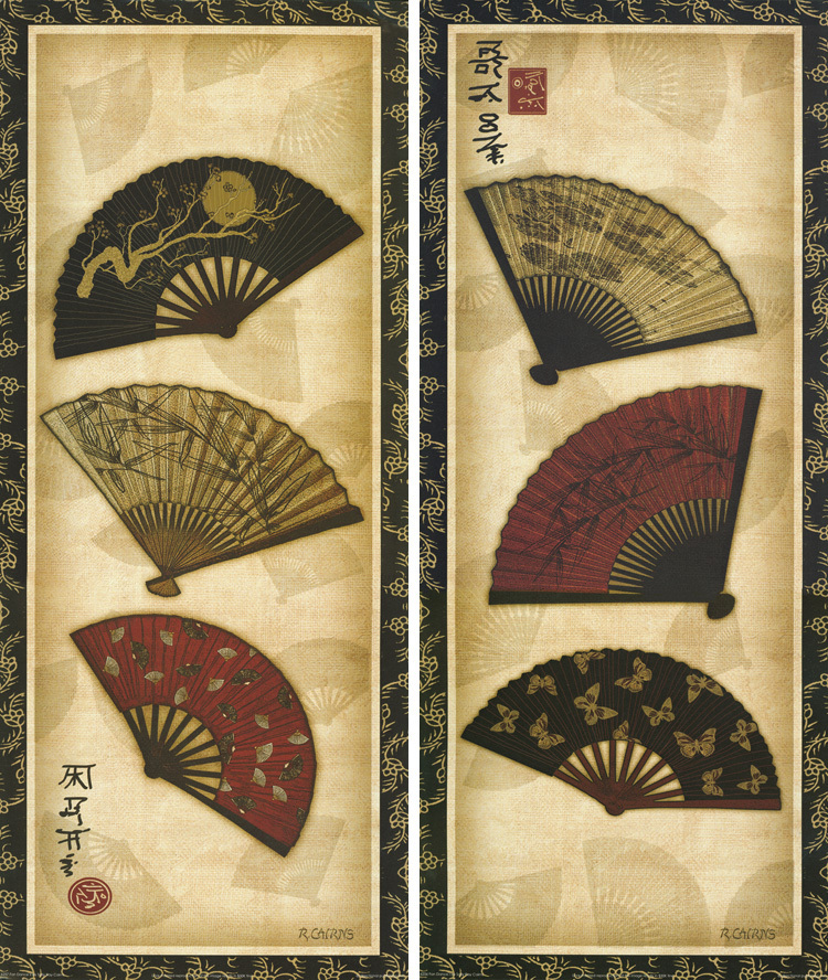 2 Panels Japanese Traditional Flower Fans Wall Hanging Frameless ...