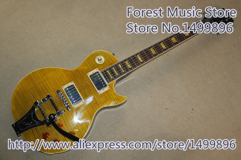 Hot Selling LP Standard Electric Guitar Tiger Flame Finish & Chrome Bigsby For Sale hot selling matte tiger flame finish lp standard electric guitars with solid mahogany guitar body in stock
