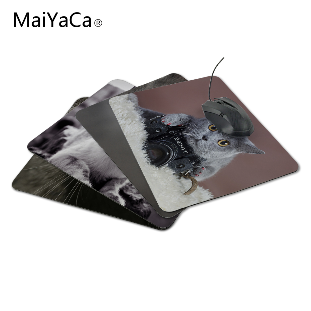 MaiYaCaLuxury Printing Gray Cat with a Zenit Camera Game Design Gaming PC Anti-slip Laptop Mouse Mat for Optical/Trackball Mouse