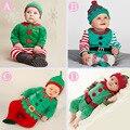4 Colores 2016 Muchachas de Los Bebés de Los Mamelucos Trajes de Santa de Navidad Cubre Piernas Babywear Mameluco Largo Sombrero Juego Del Bebé Set de Regalo
