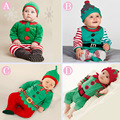 4 Colors 2016 Christmas Baby Boys Girls Rompers Santa Costumes Babywear Footcover Long Romper Hat Suit Baby Gift Set