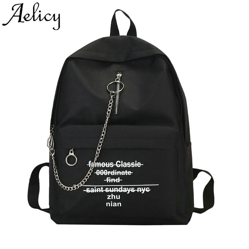 Aelicy Chain Backpack Phone-Pocket Letter Lady Bag Print Shoulder-Trend High-Quality
