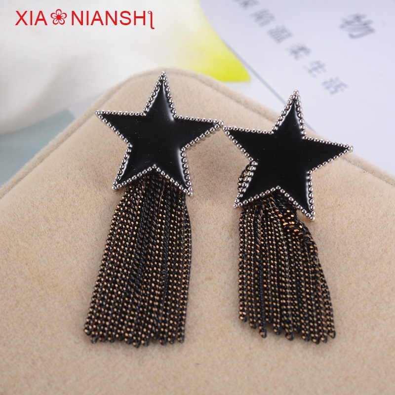 Vintage Enamel Black Earrings Fashion Five-pointed Star With Copper Wire Tassels Long Earrings Star Brincos Jewelry For Women(China)