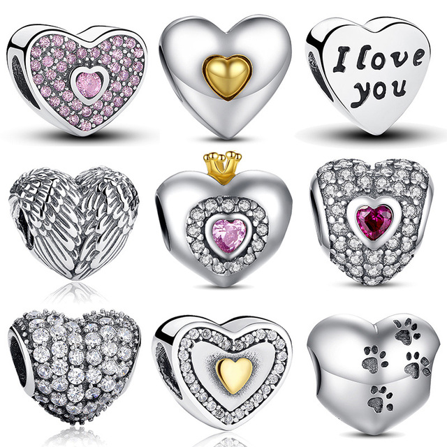 100% Подлинный Стерлингового Серебра 925 Формы Сердца Шарм Бисер Fit Pandora Шарм Браслет DIY Оригинальные Серебряные Ювелирные Изделия