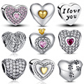 100% Authentic 925 Sterling Silver Heart Forma de Charme Beads Fit Pandora Charm Bracelet DIY Jóias De Prata Originais