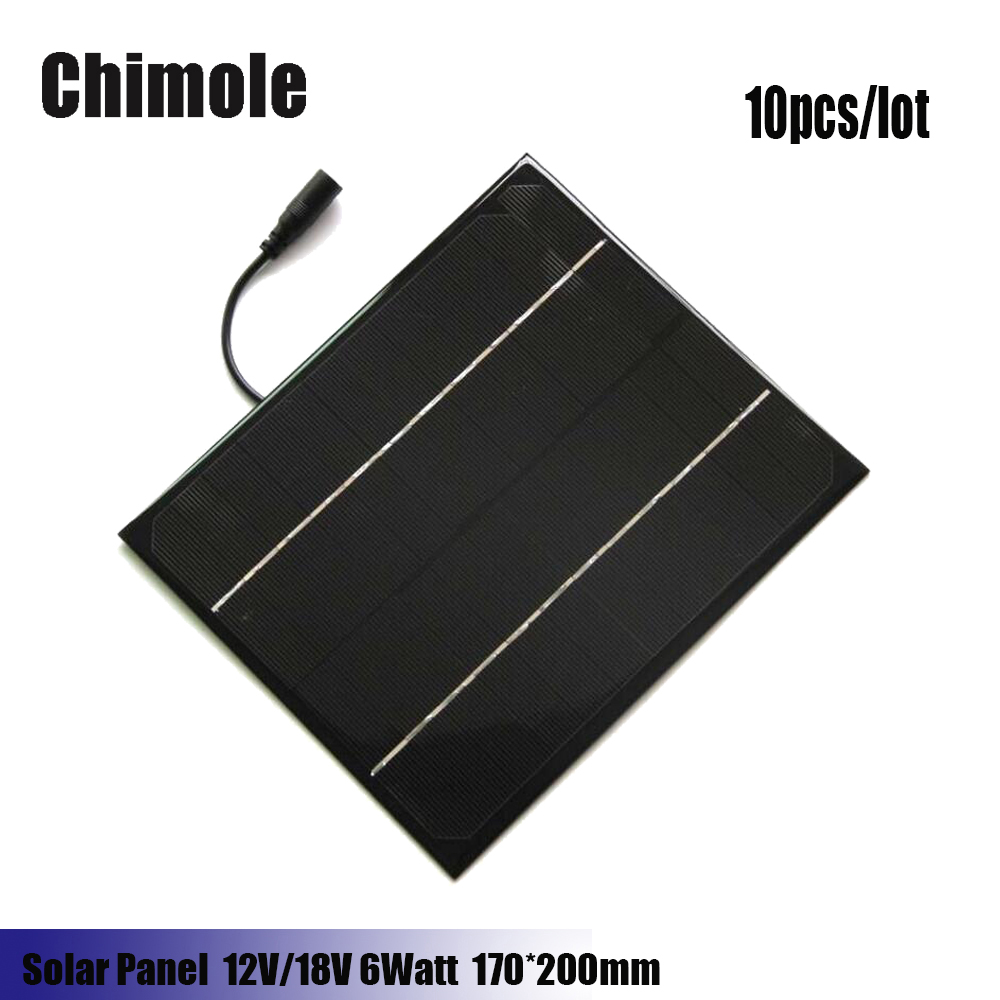 10pcs 6W 12V 18V 200*170mm DIY solar panels monocrystalline silicon PET + EVA Laminated Mini Solar Panel with DC Cable for Lamp