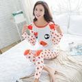 2017 Otoño Pijamas de Las Mujeres Pijamas Carácter Pijamas Femme Mujer Cerdo de la Historieta de Manga Larga ropa de Dormir Femenina Trajes Chándal