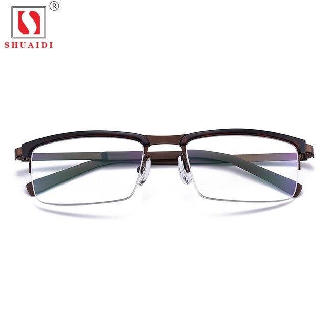 08be5299d8 Men Brown Half Reading Glasses Stainless Steel Frame Resin Lenses Reading  Glasses Anti Fatigue Presbyopic Eyeglasses