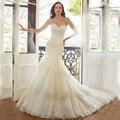 Elegant Sweetheart Off Shoulder Wedding Dress  Layered Ruffles Mermaid Lace Plus Size vestido de noiva 2016