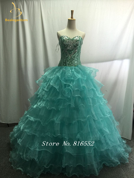 Bealegantom 2019 Real Photo Ball Gown Beaded Ball Gown Quinceanera Dress with Lace Up For 15 Years Vestidos De 15 Anos QA1392