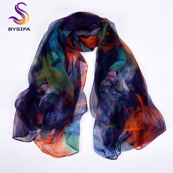 [BYSIFA] Ladies Silk Scarf Shawl New Long Scarves Fashion Brand Scarves Elegant Purple Blue Neck Scarf Beach Shawl Cover-ups 1
