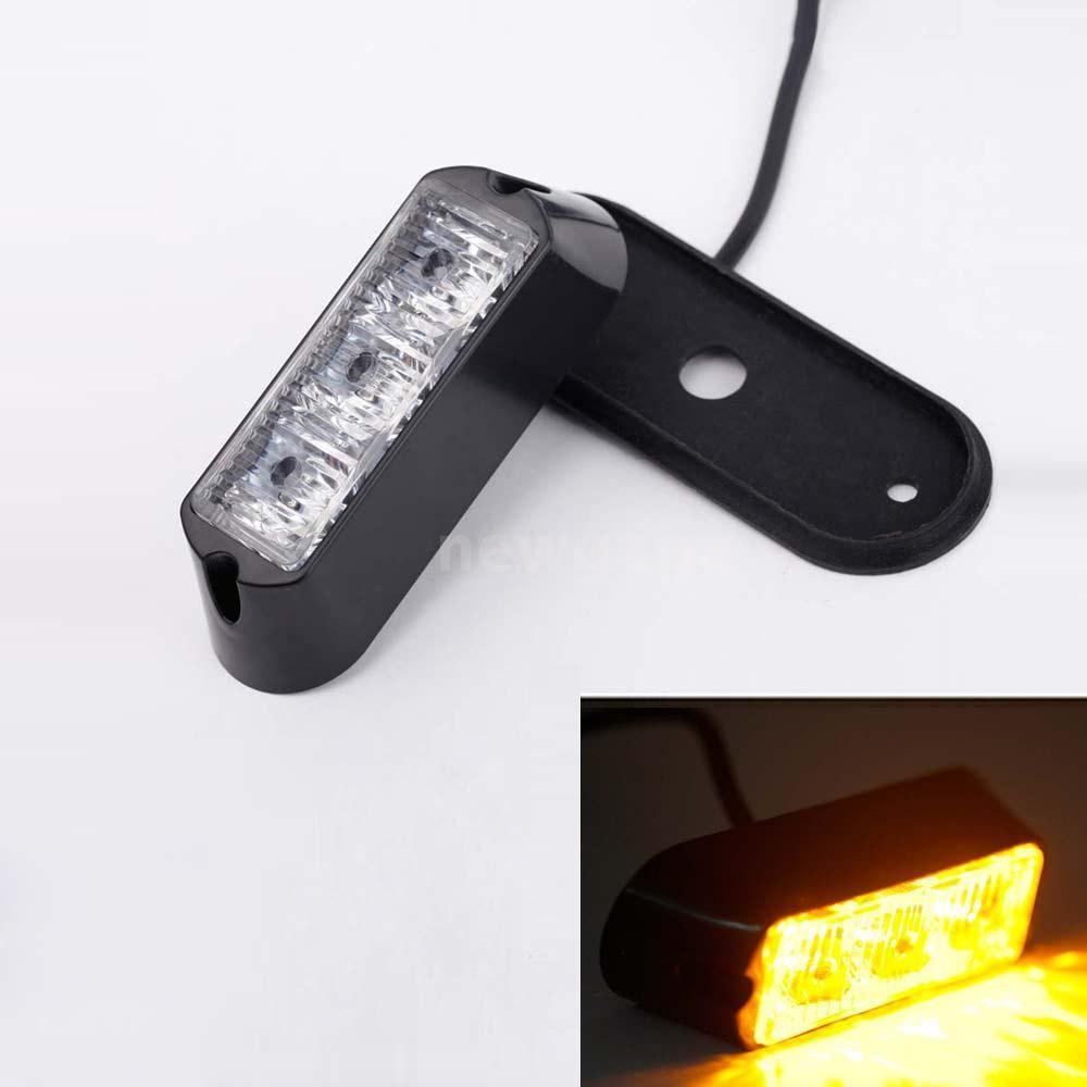 CYAN SOIL BAY 3W 3 LED Car Auto Flashing Strobe Emergency Warning Light Lamp 12V-24V Amber Yellow Flash