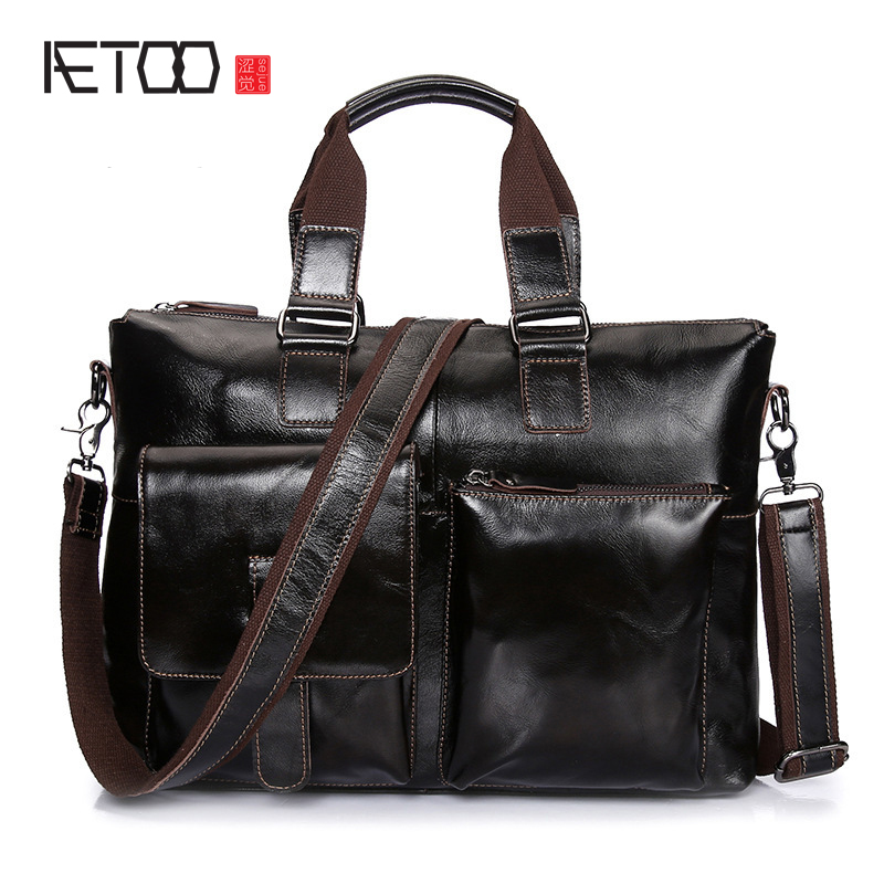 AETOO Oil wax leather men handbag head layer cowhide business briefcase leather shoulder Messenger bag male bag slow head layer cowhide handbag retro oil wax bag leather bag travel bag