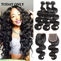8A Grade Virgin Unprocessed Human Hair 3 Bundles with Closure Queen Hair Brazilian Body Wave Virgin Hair With Closure Crochet
