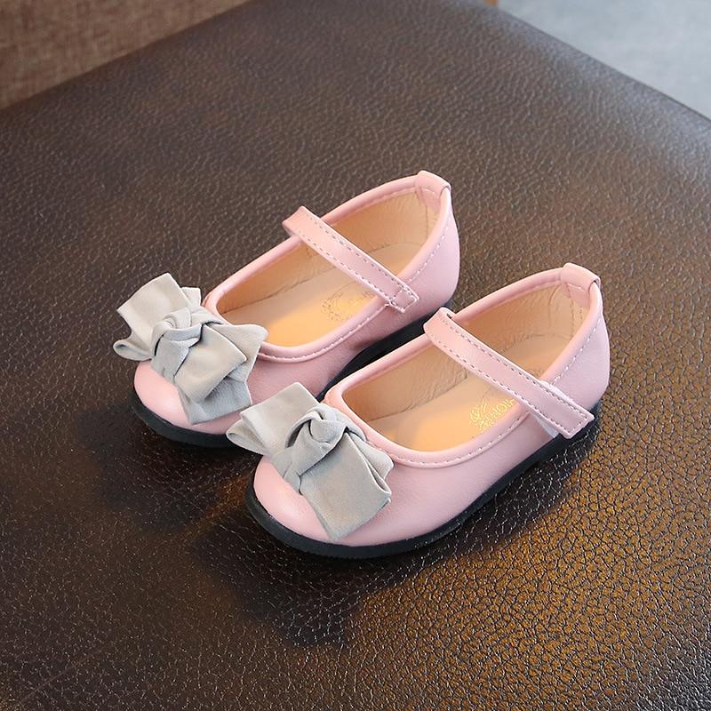 Fashion Children Princess Dance Shoes Kids Girl Dress Party Shoes With Bow Baby Flats Casual Single Shoe Calzado para nios P30