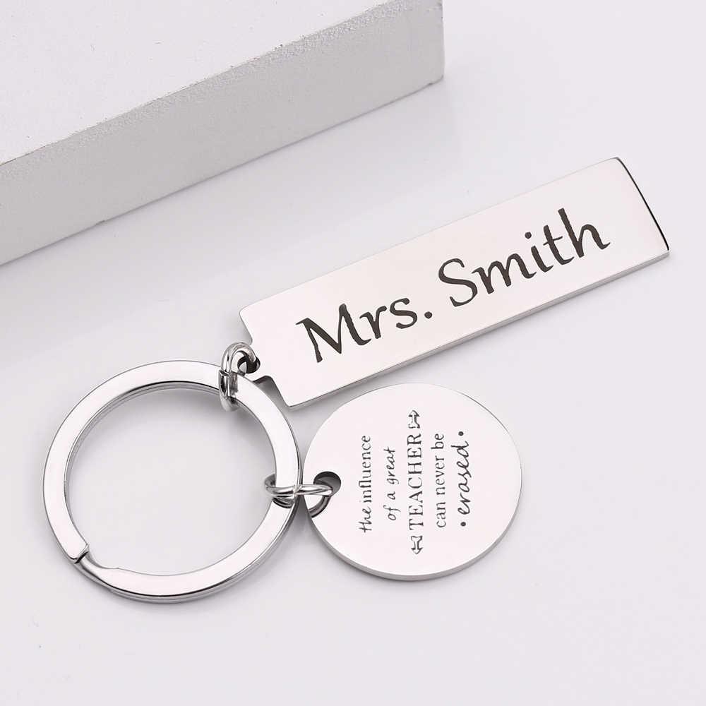 ส่วนบุคคล Custom ชื่อ Key Chain แกะสลักอิทธิพลของครู Key ผู้ถือครูของขวัญคุณภาพสูงกระเป๋า Charm