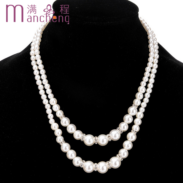 New design hot sale 2 Layer Sexy glamour woman pearl beaded necklace,Best quality perfectly round simulated-pearl beads necklace
