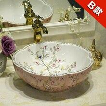 Estilo antiguo, Europeo arte lavabo baño encimera blanco con flor rosa y lavabo de cerámica de pájaros lavabo en el cuarto de baño
