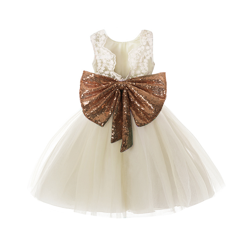 Lace Girl Dress Sequins Bow For Wedding Party Girls Clothes Princess Halloween Christmas Birthday Outfits For Infant Kids Wear