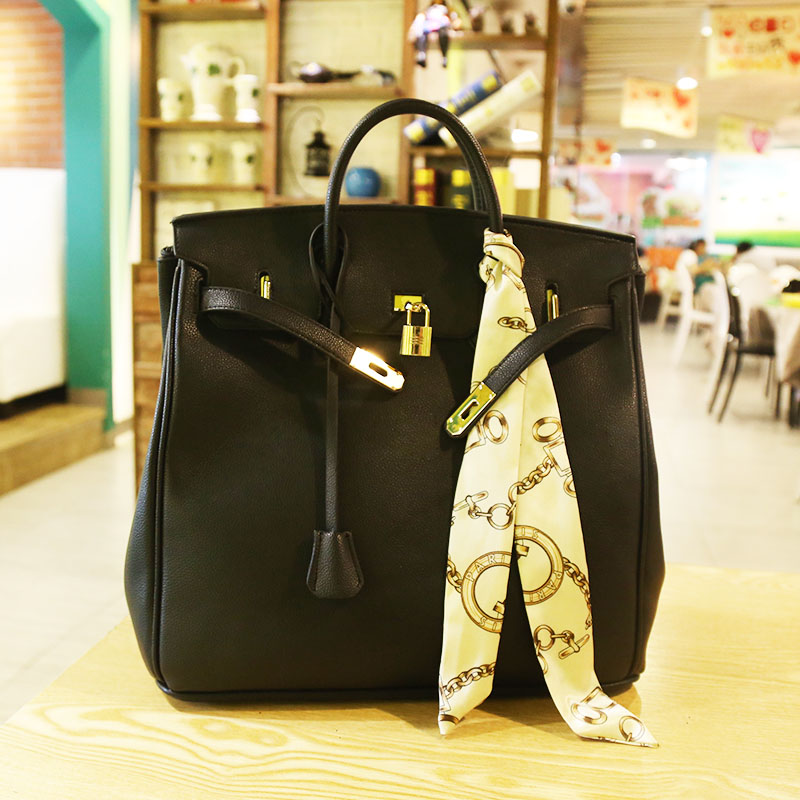 2018High Quality Famous Brands Women Leather Handbags Tote Bags PU Leather Golden Lock Solid 35 Designer Black Large Lady Purse paste lady real leather handbags patent famous brands designer handbags high quality tote bag woman handbags fringe hot t489