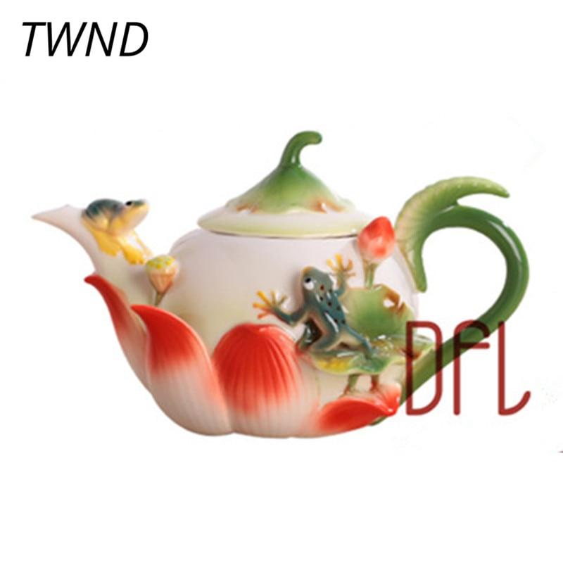 420ML Esmalte Tetera Hueso de porcelana ranas olla olla creativo hervidor traje té agua café