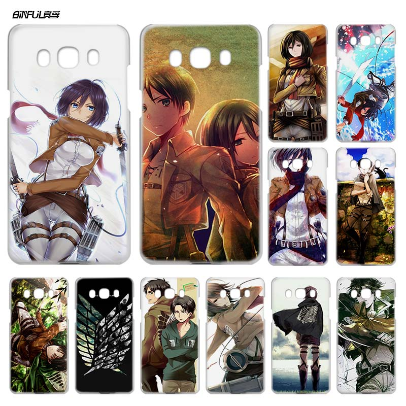 BiNFUL Attack on Titan 1 Clear Case Cover Coque Hard Shell for Samsung Galaxy J1 J3 J5 J7 2016 2017 J5 J7 Prime