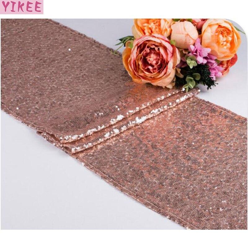 12x110 Inch Wedding Decoration Modern Bling Sequin Glitter Table Runner,rose Gold Table Runner