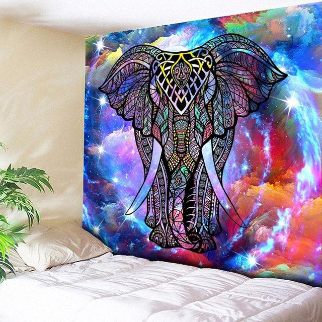 "150x200 ס""מ Mandalas פיל צבעוני מודפס דקורטיבי שטיח שמיכת המנדלה הודי Boho"