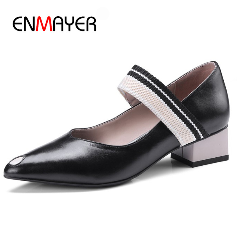 ENMAYER Spring Woman Med High Heel Shoes Square Heel Genuine Leather Pointed Toe Casual Shoes Pumps Lady Sexy Ship On Shoes nayiduyun women genuine leather wedge high heel pumps platform creepers round toe slip on casual shoes boots wedge sneakers