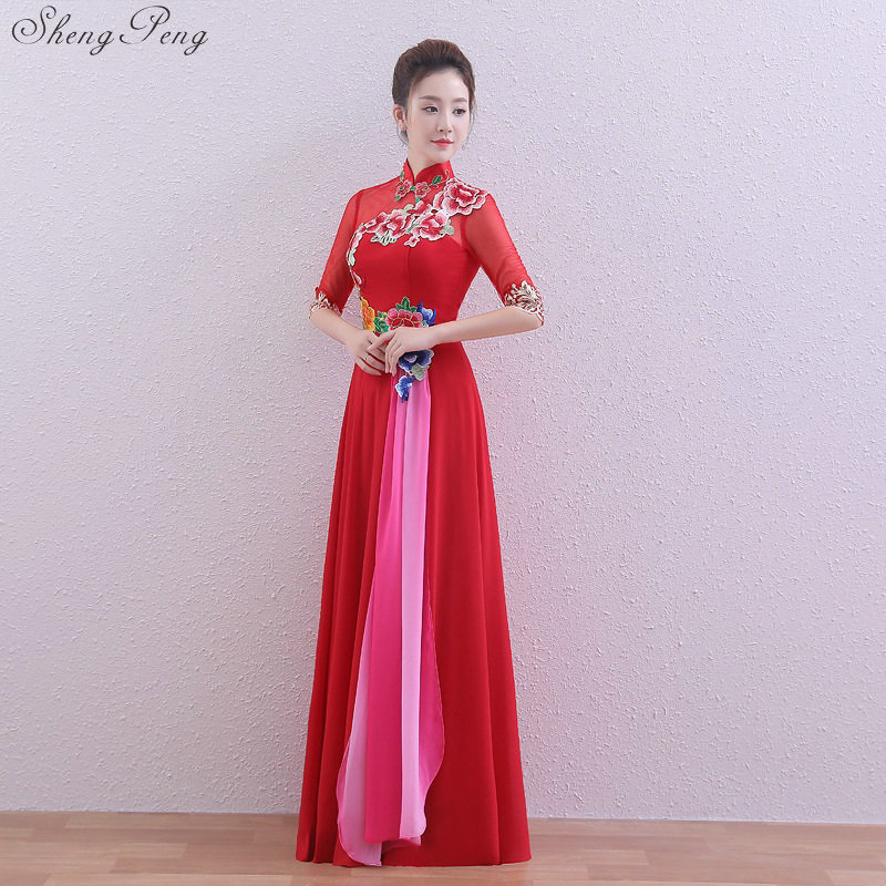 Bride Vintage Cheongsam Long National Chinese Dress Red Qi Pao Women Embroider Traditional Evening Gown Qipao