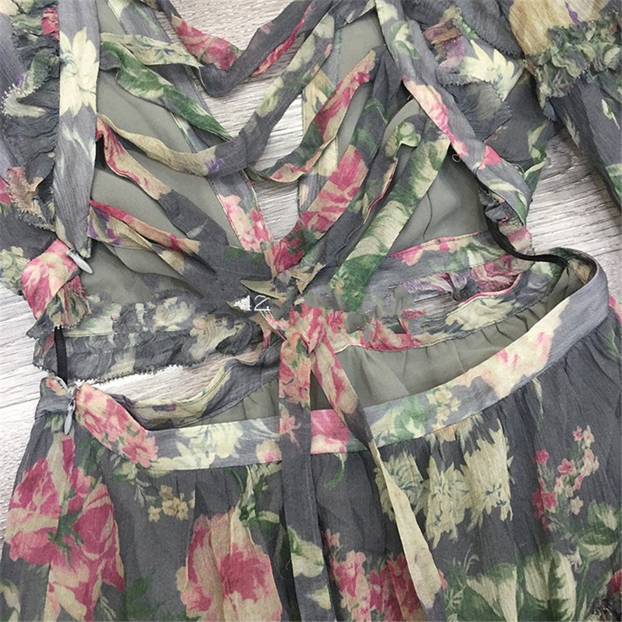 18 Autumn New Arrival Designer Women Mini-dress 100%silk Fabric Long Sleeve Flower Print Grey Sexy Backless V-neck Dress 4