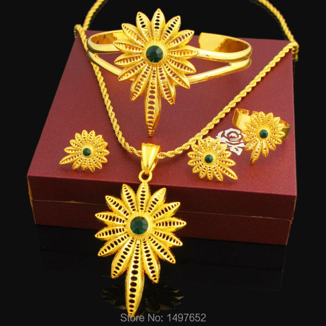 New Stone Ethiopian Jewelry Sets 24K Gold Color Women Girls