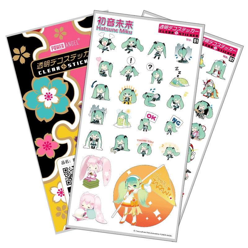 PowerAngel Plastic Stickers Hatsune Miku Cartoon Anime DIY Props Phone Laptop Book Art Decal Sticker Gift