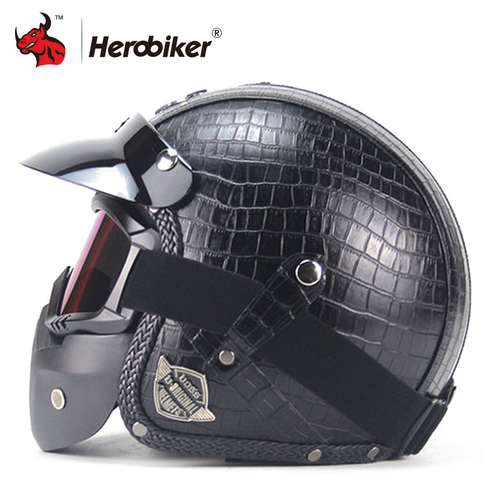 New Retro Vintage Motorcycle Helmet Synthetic Leather 3/4 Open Face Helmet Cafe Racer Cruiser Chopper Casco Moto Helmet new leather motorcycle helmet retro vintage steampunk cruiser chopper scooter cafe racer moto helmet 3 4 open face helmet dot