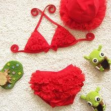 New Retail Girl's Chiffon Ruffles Swimsuit Kids Cotton Straps Bikini Set +Hat Baby Swimwear with Ribbon Bow Children Two Pieces