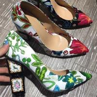 Macytino Elegent Women Pumps Flower Printed High Heel Shoes 10CM Chunky Heels Formal Dress Shoes