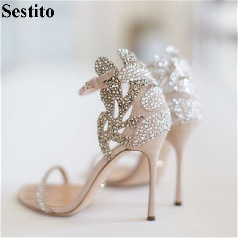 Fashion Beige Crystal Wedding Sandals Summer Casual Shoes Peep Toe Thin Heels Women Sandals Buckle Strap Cover Heel Women Shoes
