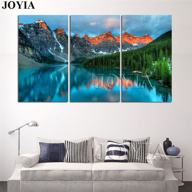 3 Piece Canvas Art Pictures Banff National Park Scenery Landscape Wall Painting Canadian Rockies Home Decoration No Frame