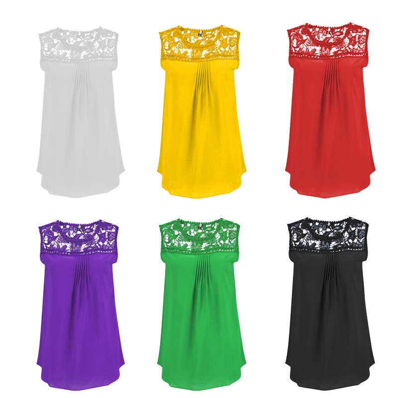 Plus Size S to 5XL Women Sexy Casual Water-soluble Lace Chiffon Sleeveless Tank Tops Vest Tank Friendship