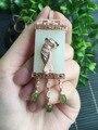 925 de prata fina pingente de Jade China leste aumentou, estilo clássico jade borlas para as mulheres colar de pingente de tamanho 20*75mm